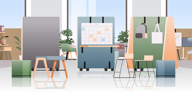 Centro de coworking vacío sala de oficina moderna espacio abierto interior con muebles ilustración horizontal