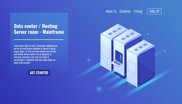 Centro de datos, alojamiento de sitios web, bastidor de la sala de servidores, recurso de mainframe, centro de datos