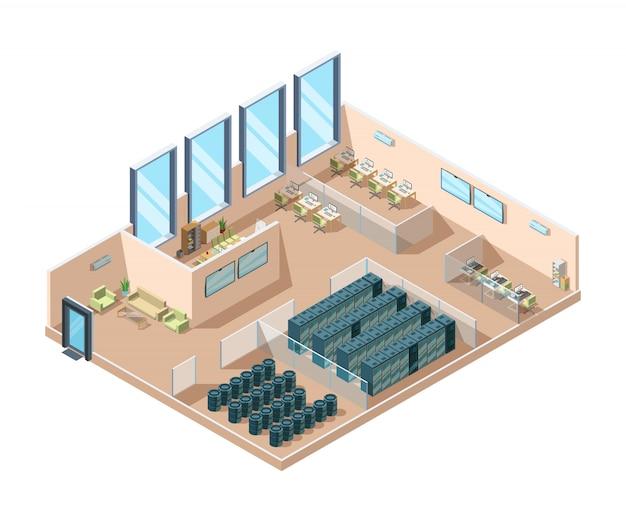 Centro de datos. computadoras salas de servidores generadores de refrigeración interior contenedores de baterías edificio de centro de datos industrial isométrico