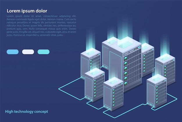 Centro de datos. concepto de almacenamiento en la nube, transferencia de datos.