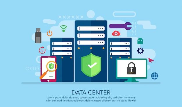 Centro de datos data center concepto de diseño plano, fondo de concepto de página de destino