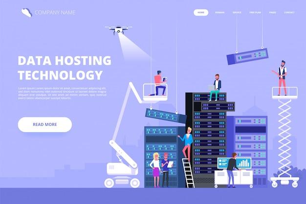 Centro de datos y hosting. red de base de datos de internet