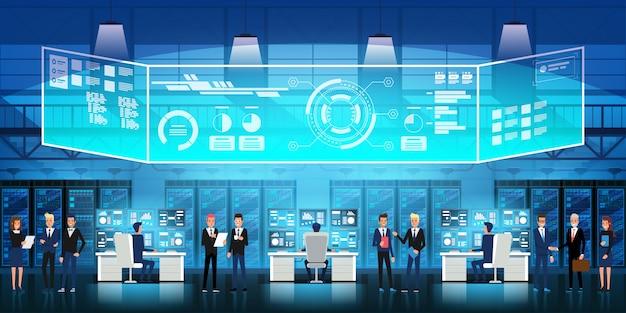 Centro de datos en la nube sala de servidores con personal técnico. diagrama de flujo, racks de servidores e ilustración de pantalla virtual
