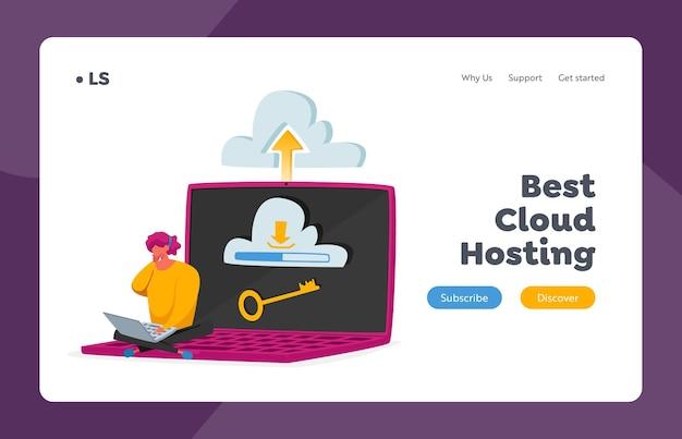 Centro de datos, plantilla de página de destino de tecnologías digitales de servidor. alojamiento web y cloud. diminuto personaje femenino sentado en una enorme computadora portátil con llave en la pantalla