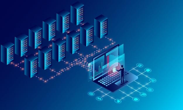 Centro de datos, sala de servidores, tecnología de almacenamiento en la nube y procesamiento de grandes datos. protección del concepto de seguridad de datos. isometrico