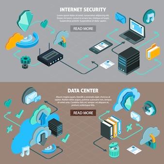 Centro de datos de tecnología de servicios en la nube y banners horizontales de seguridad de internet con diagrama de flujo isométrico 3d ilustración vectorial aislado