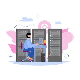 Centro de datos con trabajador en dibujos animados de servidor aislado en blanco