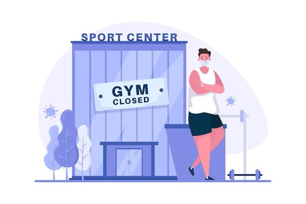 Centro deportivo cerrado durante la pandemia covid19 ilustración