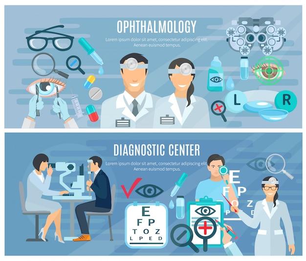 Centro de diagnóstico oftalmológico para prueba y corrección de la visión. 2 banners horizontales planos con un conjunto abstracto i