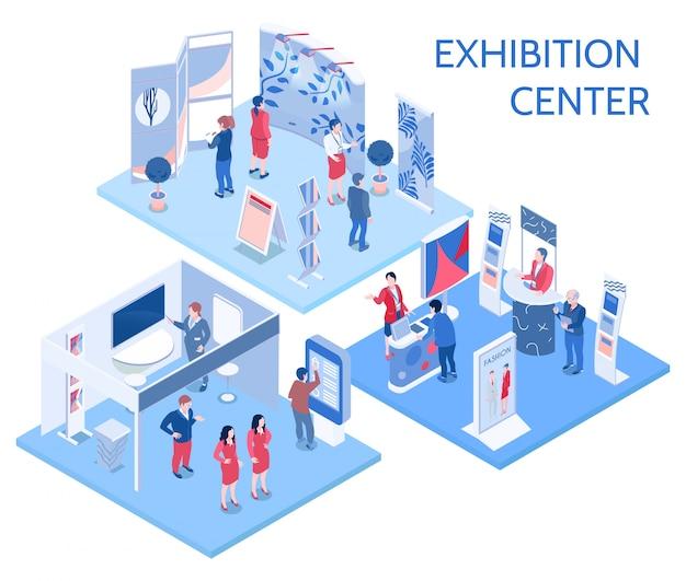 Centro de exposiciones de composiciones isométricas