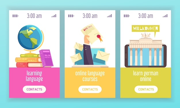 Centro de formación lingüística 3 pancartas coloridas verticales que publicitan cursos en línea certificados con diccionarios diploma plano