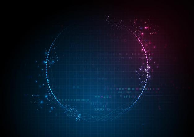 Centro futurista azul tecnología de datos digitales