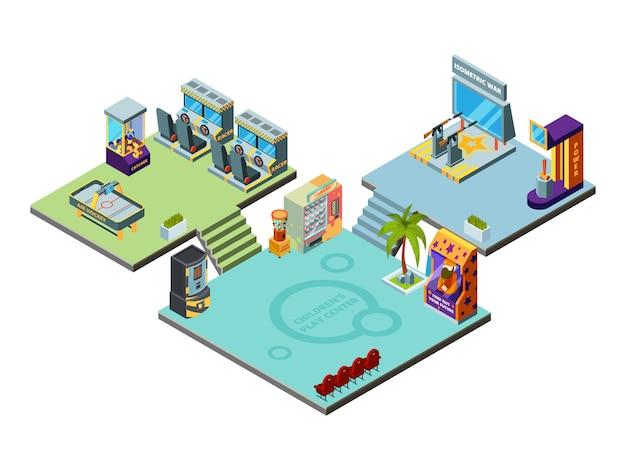 Centro de juegos. parque de atracciones para niños jugando máquinas de juegos simulador arcade racer boxing pinball plantilla isométrica