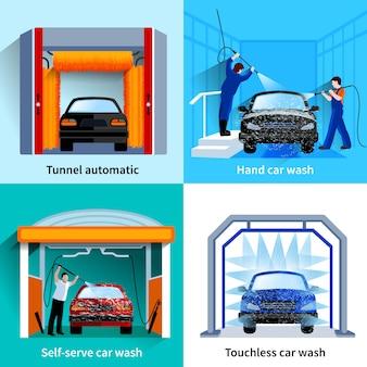 Centro de lavado de autos automático, instalaciones sin contacto y autoservicio 4 iconos planos cuadrados