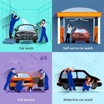 Centro de lavado de autos completo e instalaciones de autoservicio 4 iconos planos composición cuadrada abstracto vector iso