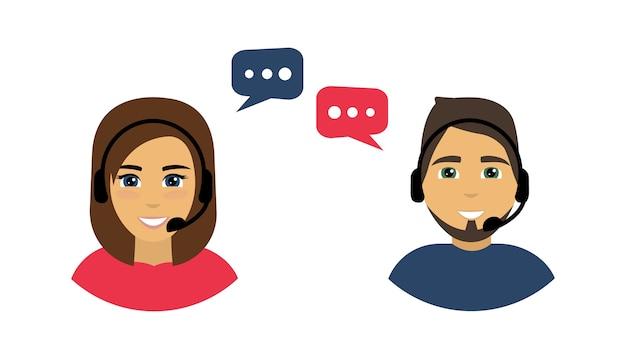 Centro de llamadas. avatares de call center masculinos y femeninos.