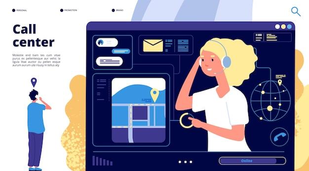 Centro de llamadas. los clientes conversan con el operador de soporte. página de inicio de vector de negocio en línea digital de telemarketing.