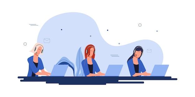 Centro de llamadas y diseño de vectores de animación de trabajo de servicio al cliente