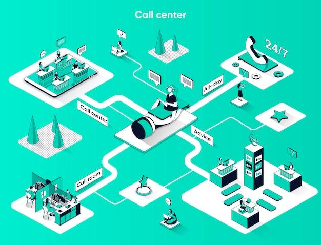 Centro de llamadas isométrica web banner isometría plana