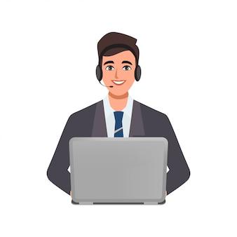 Centro de llamadas o servicio al cliente de carácter empresario posan con una computadora portátil y un teléfono con auriculares.