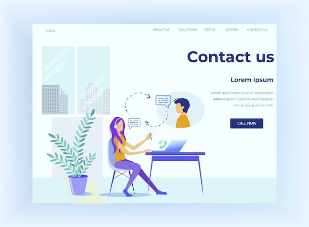 Centro de llamadas ofrece servicio al cliente en la página de destino