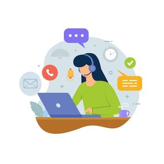 Centro de llamadas de servicio al cliente con personas que usan auriculares y computadora portátil