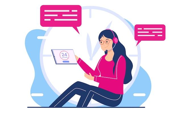Centro de llamadas de servicio al cliente de veinticuatro horas, operador de la línea de ayuda, servicio de atención al cliente. concepto de ilustración plana moderna para sitio web