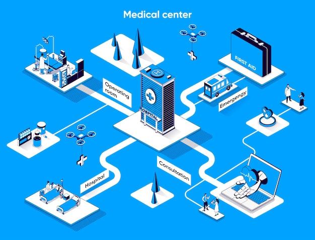 Centro médico isométrica web banner isometría plana