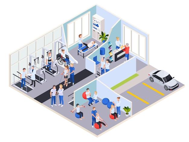 Centro médico de rehabilitación y fisioterapia ilustración isométrica.