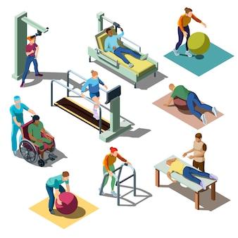 Centro médico de rehabilitación con personajes con trastornos musculoesqueléticos en estilo isométrico.