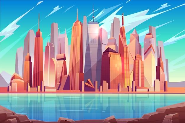 Centro de metrópolis del futuro, fondo de dibujos animados del centro de negocios de la ciudad moderna