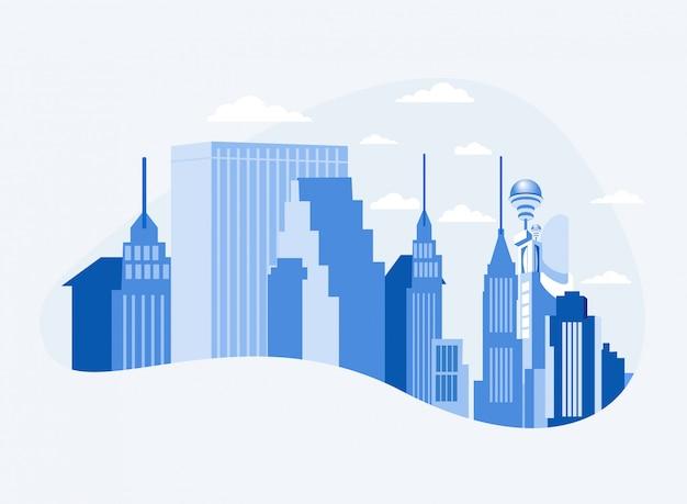 Centro de negocios de la ciudad en el centro con rascacielos