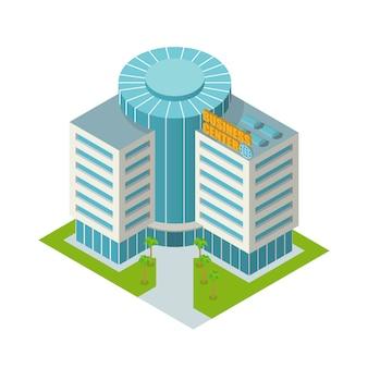Centro de negocios de construcción isométrica.