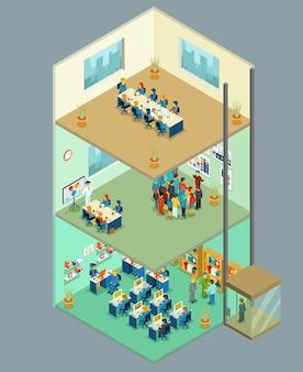 Centro de negocios isométrico. edificio de oficinas 3d con gente de negocios. centro de negocios multinivel para el trabajo en equipo