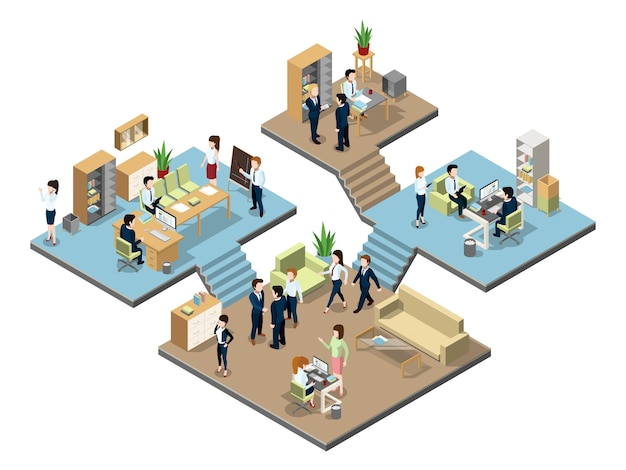Centro de negocios con personas trabajando en oficinas.