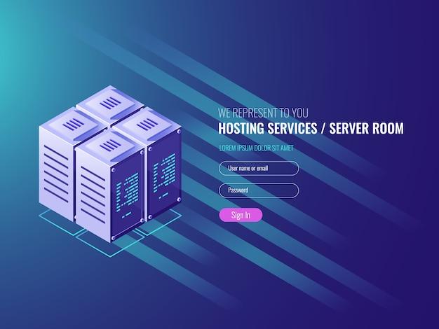 Centro de procesamiento, sala de servidores rakcs, concepto de centro de datos