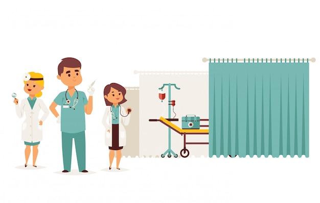 Centro de reanimación, ilustración de resultado de asistencia médica. equipo profesional de ambulancias, personaje de doctor hombre con enfermera
