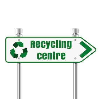 Centro de reciclaje señal de puntero de carretera