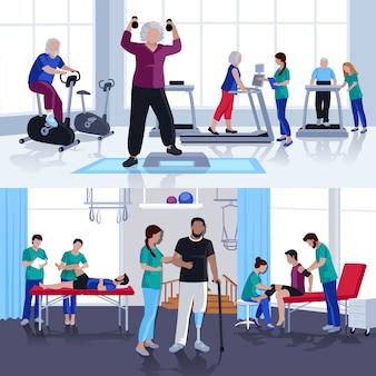 Centro de rehabilitación de fisioterapia 2 banners planos.