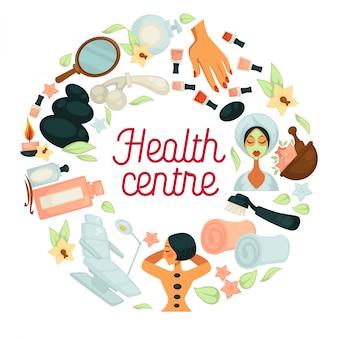 Centro de salud y spa. cartel del centro de relajación corporal y tratamiento de la piel.
