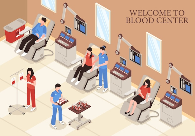 Centro de sangre con donantes en sillas tecnologías médicas modernas e ilustración isométrica del personal profesional