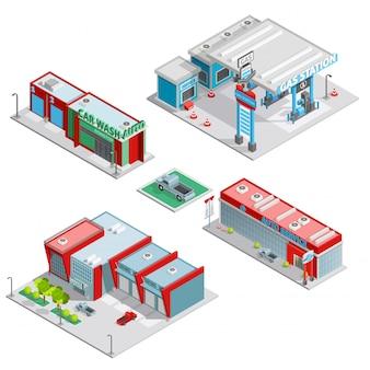 Centro de servicio de automóviles edificios composición isométrica