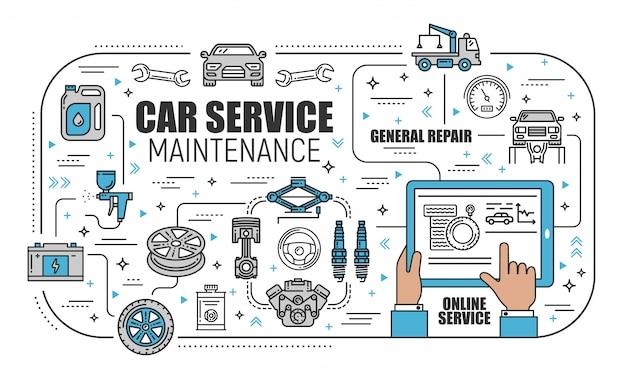 Centro de servicio de automóviles, mantenimiento mecánico en línea