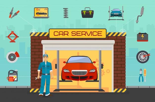 Centro de servicio de reparación de automóviles.