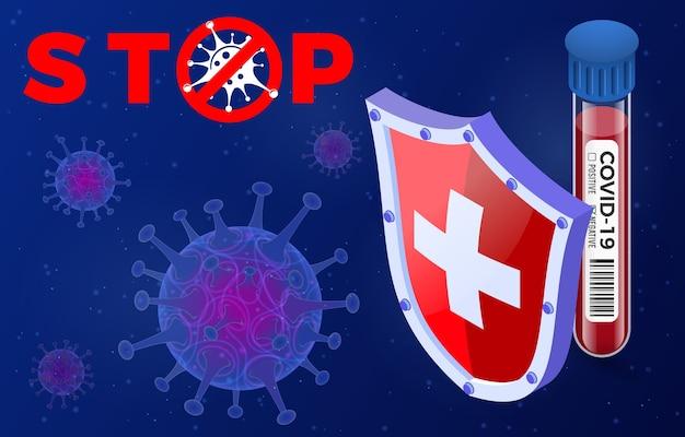 Cepa del virus 2019-ncov con señal de alto en cuarentena del nuevo coronavirus de wuhan. brote de coronavirus pandémico en china. tubo de ensayo con prueba de sangre negativo escudo covid-19. isometrico
