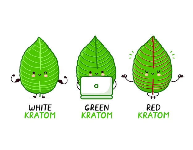 Cepas de kratom rojo, verde y blanco