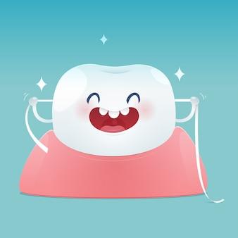 Cepillarse los dientes con hilo dental, hilo dental