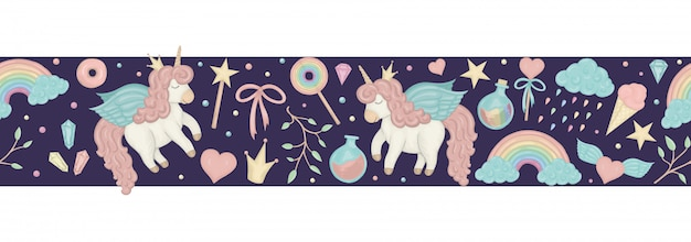 Cepillo de borde transparente con lindos unicornios de estilo acuarela, arco iris, nubes, cristales, corazones sobre fondo morado oscuro.