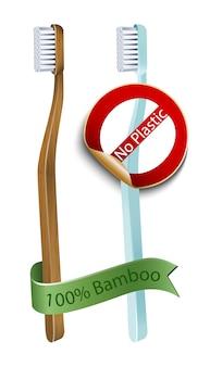 Cepillo de dientes de bambú 100% y sin cepillo de plástico. reciclaje de residuos cero seguro. eco y estilo de vida saludable.