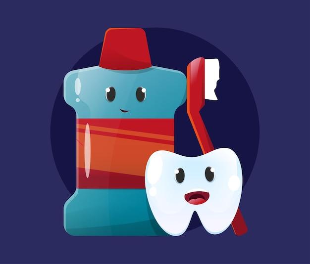 Cepillo de dientes y enjuague bucal